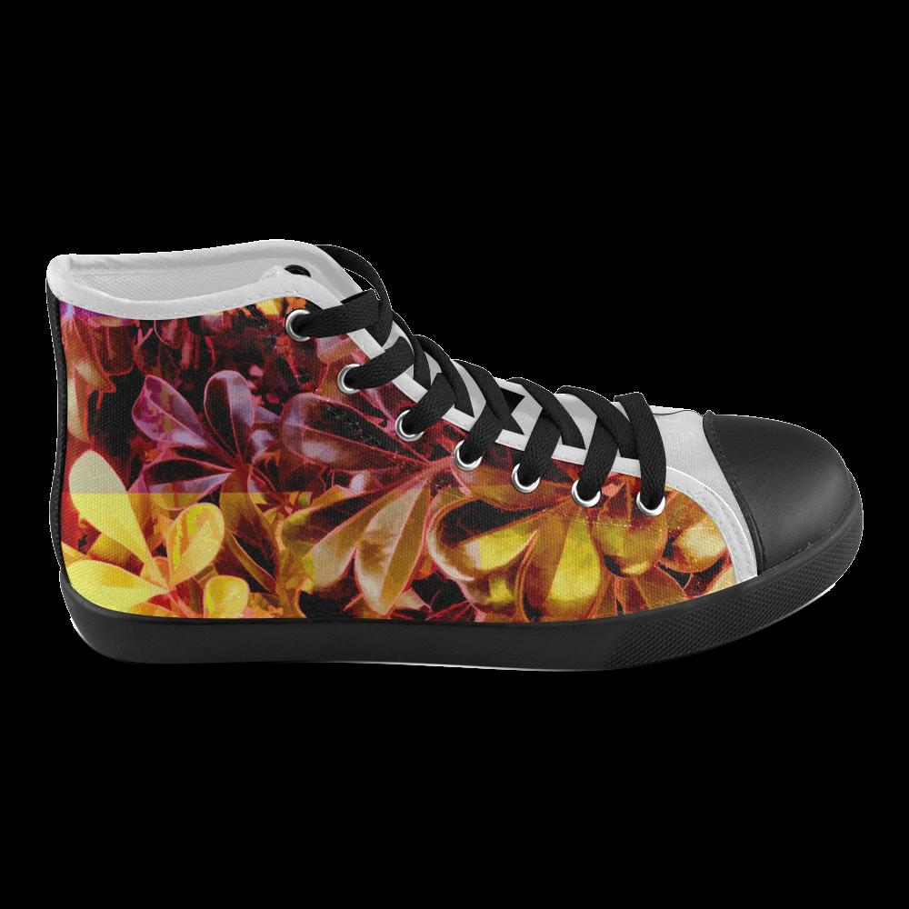 Foliage Patchwork #11 - Jera Nour Men's High Top Canvas Shoes (Model 002)