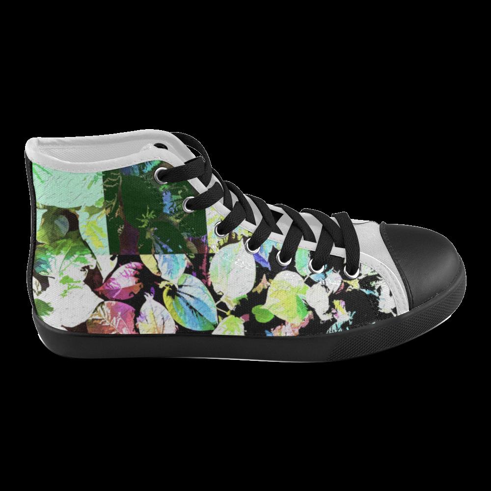 Foliage Patchwork #2 - Jera Nour Men's High Top Canvas Shoes (Model 002)