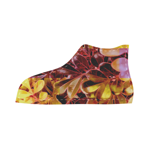 Foliage Patchwork #11 - Jera Nour High Top Canvas Kid's Shoes (Model 002)