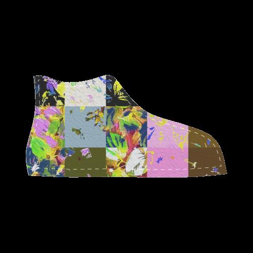 Foliage Patchwork #3 - Jera Nour High Top Canvas Kid's Shoes (Model 002)