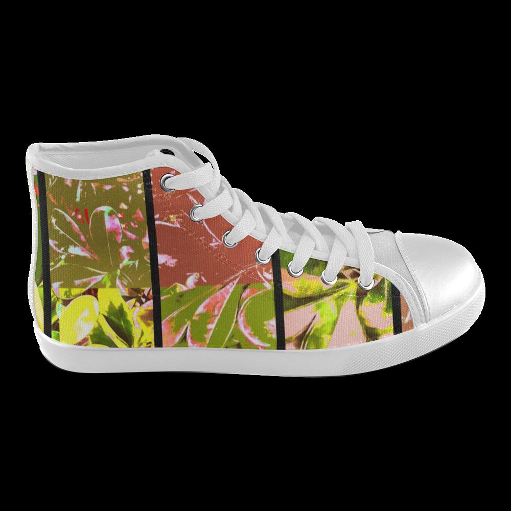 Foliage Patchwork #5 - Jera Nour Women's High Top Canvas Shoes (Model 002)
