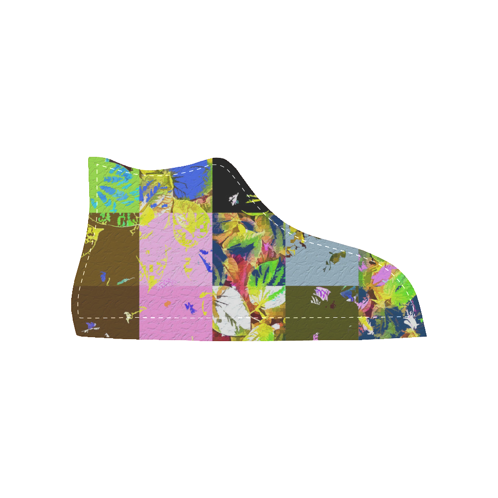 Foliage Patchwork #3 - Jera Nour Women's High Top Canvas Shoes (Model 002)