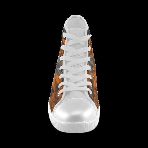 Foliage Patchwork #9 - Jera Nour Women's High Top Canvas Shoes (Model 002)