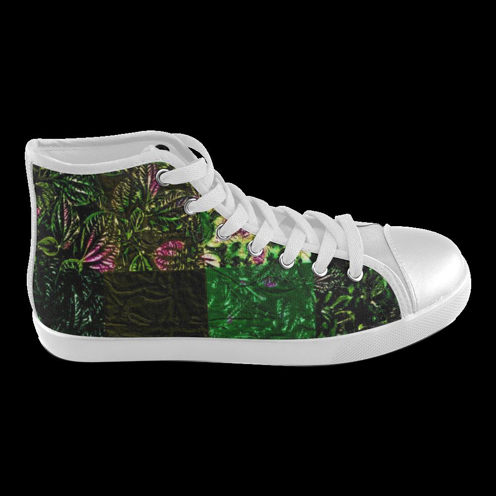 Foliage Patchwork #1 - Jera Nour Women's High Top Canvas Shoes (Model 002)