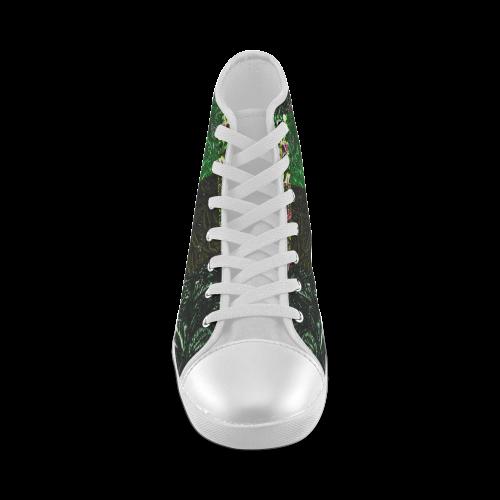 Foliage Patchwork #1 - Jera Nour High Top Canvas Kid's Shoes (Model 002)