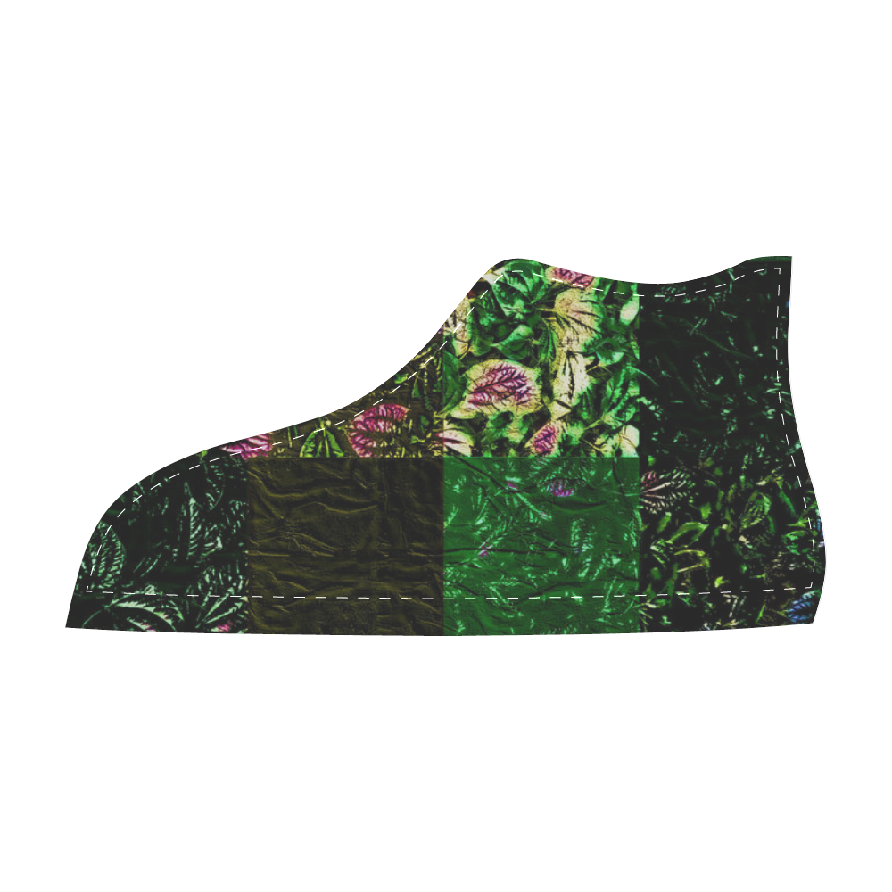 Foliage Patchwork #1 - Jera Nour Men's High Top Canvas Shoes (Model 002)
