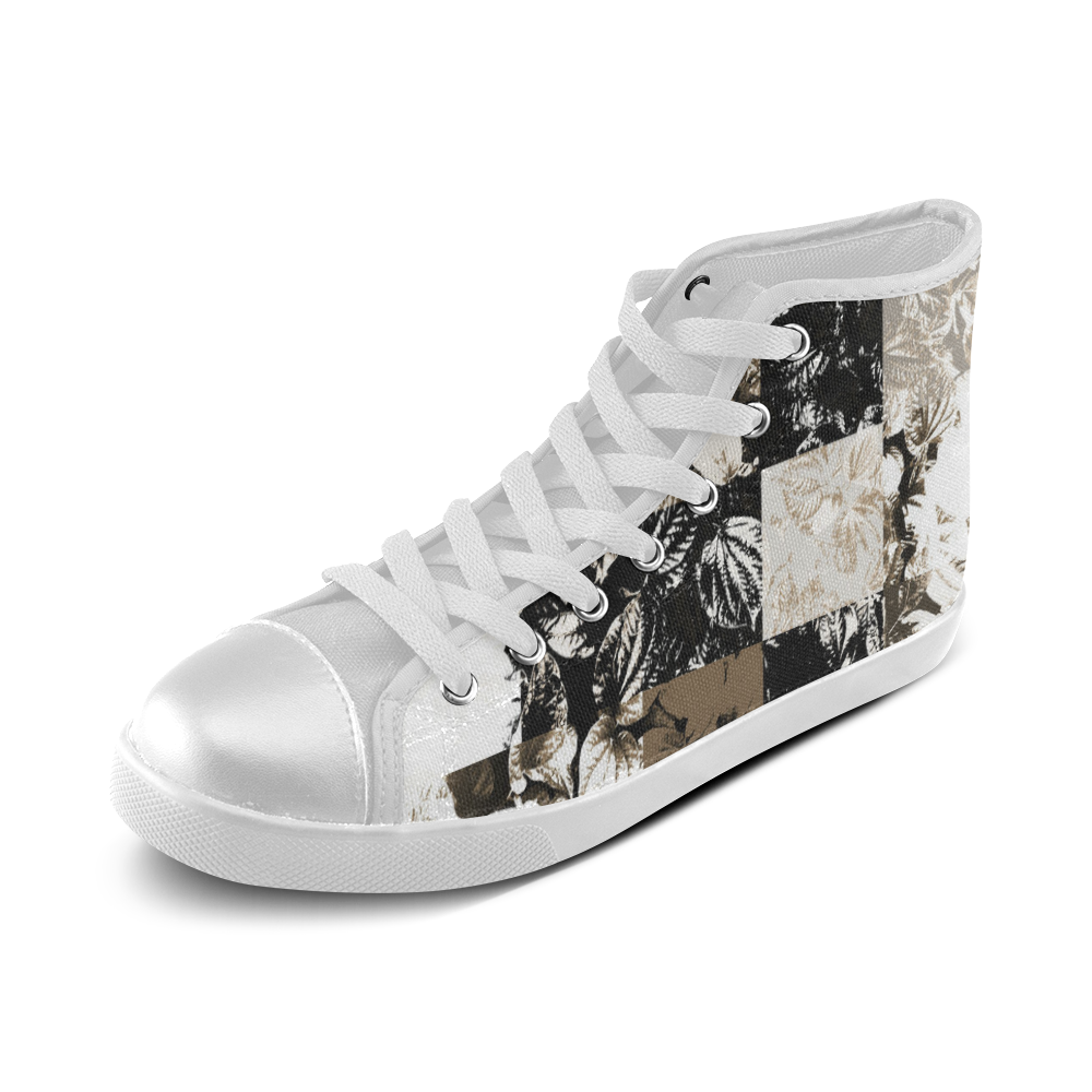 Foliage Patchwork #8 - Jera Nour Women's High Top Canvas Shoes (Model 002)