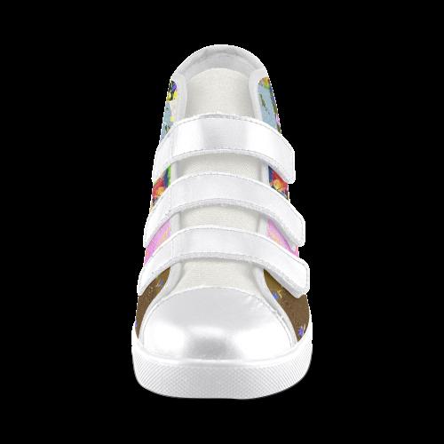 Foliage Patchwork #3 - Jera Nour Velcro High Top Canvas Kid's Shoes (Model 015)