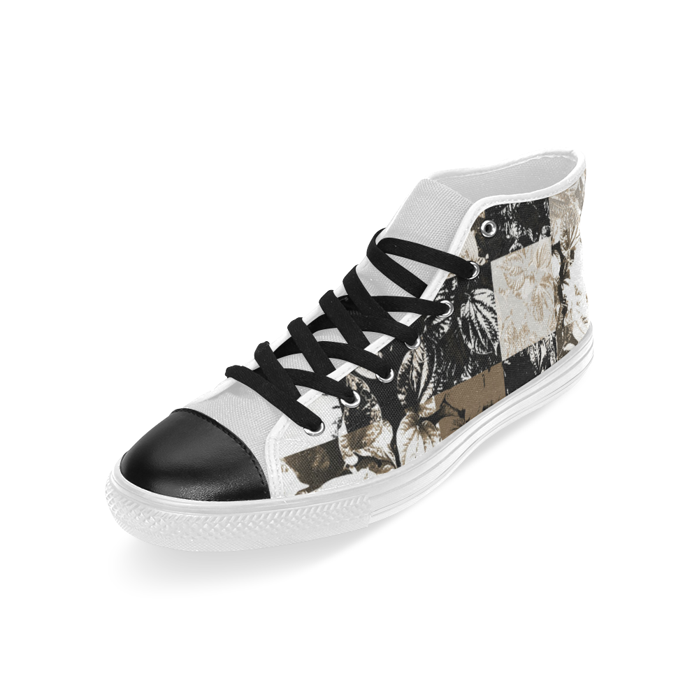 Foliage Patchwork #8 - Jera Nour Men's Classic High Top Canvas Shoes (Model 017)