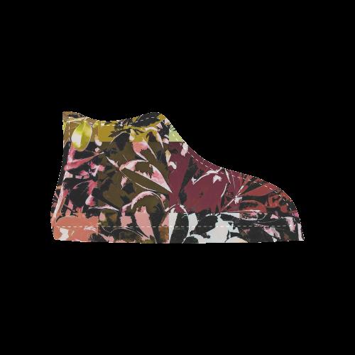 Foliage Patchwork #6 - Jera Nour Women's High Top Canvas Shoes (Model 002)