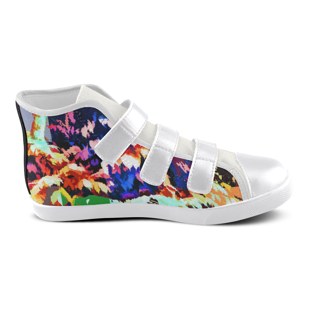 Foliage Patchwork #7 - Jera Nour Velcro High Top Canvas Kid's Shoes (Model 015)