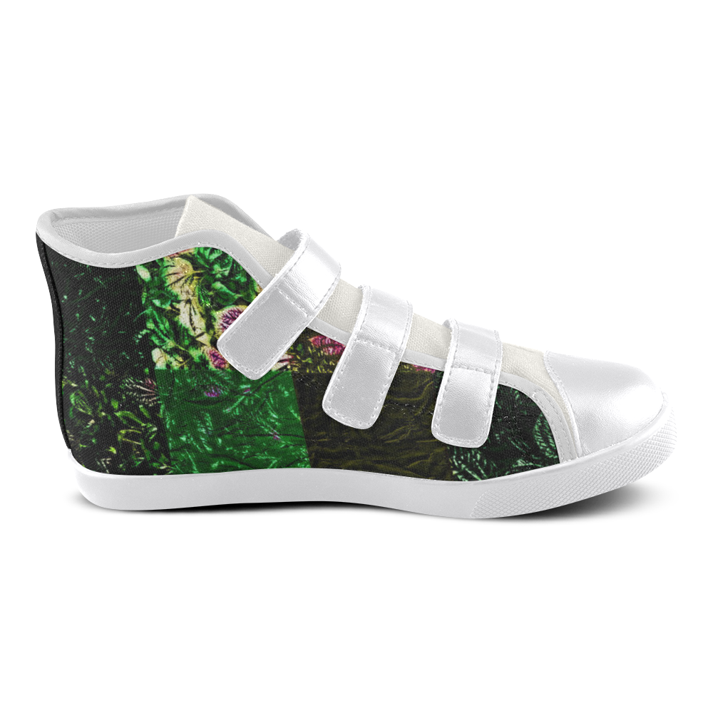 Foliage Patchwork #1 - Jera Nour Velcro High Top Canvas Kid's Shoes (Model 015)