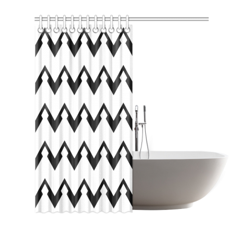 "Chevron black and white  1 Shower Curtain 72""x72"""