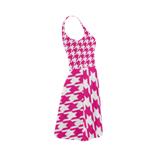 hot pink  and white houndstooth classic pattern Atalanta Sundress (Model D04)