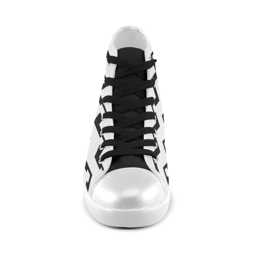 Chevron black and white  1 Women's High Top Canvas Shoes (Model 002)