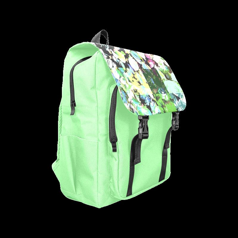 Foliage Patchwork #2 Light Green- Jera Nour Casual Shoulders Backpack (Model 1623)