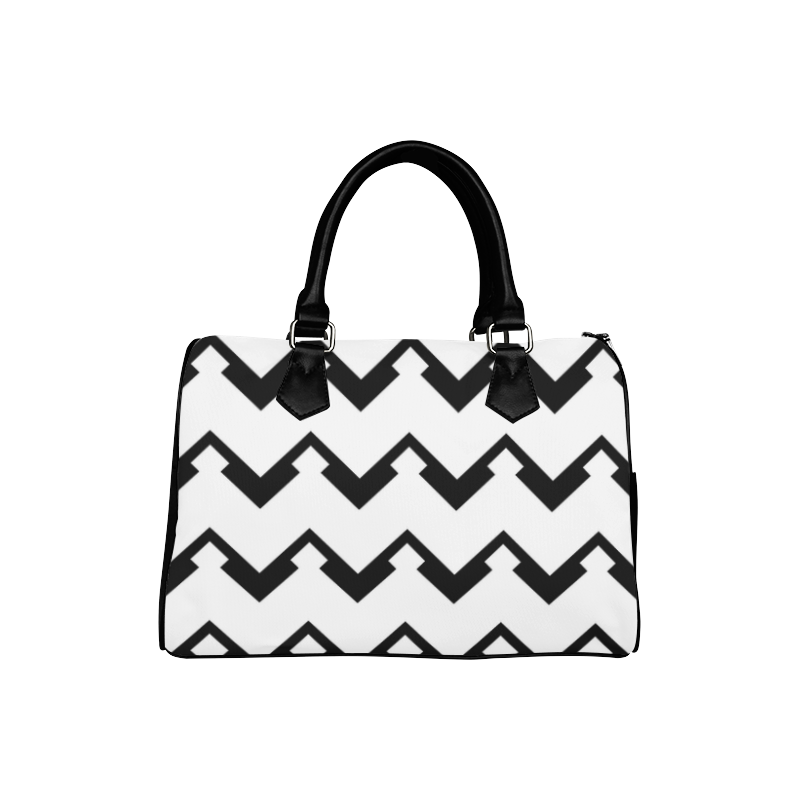 Chevron black and white  1 Boston Handbag (Model 1621)