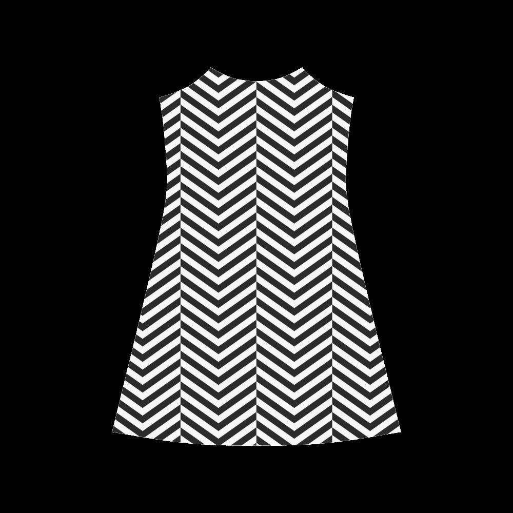 black and white classic chevron pattern Alcestis Slip Dress (Model D05)