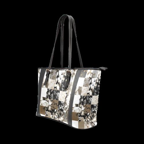 Foliage Patchwork #8 - Jera Nour Leather Tote Bag/Large (Model 1640)