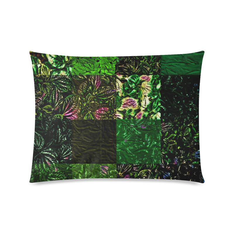 "Foliage Patchwork #1 - Jera Nour Custom Zippered Pillow Case 20""x26""(Twin Sides)"