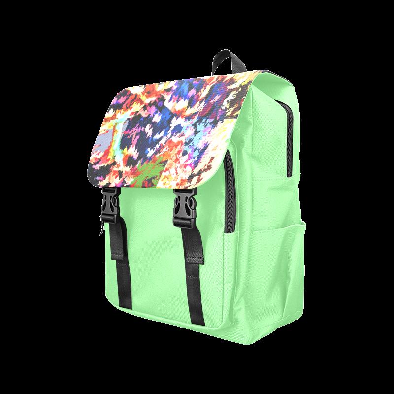 Foliage Patchwork #7 Light Green- Jera Nour Casual Shoulders Backpack (Model 1623)