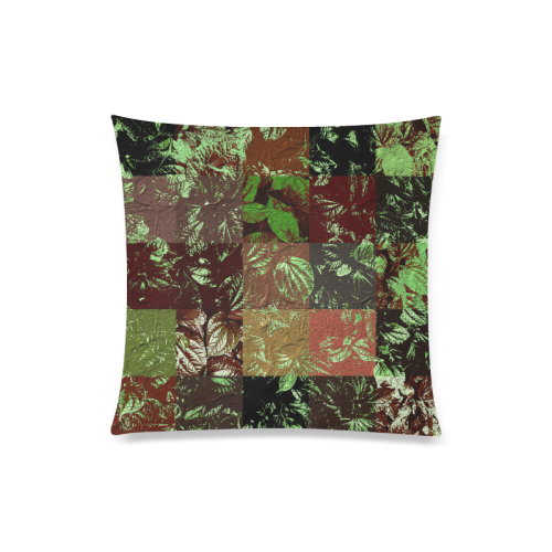 "Foliage Patchwork #4 - Jera Nour Custom Zippered Pillow Case 20""x20""(Twin Sides)"