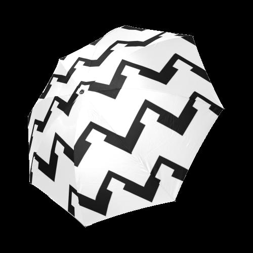 Chevron black and white  1 Foldable Umbrella (Model U01)