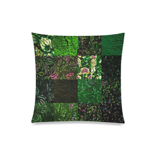 "Foliage Patchwork #1 - Jera Nour Custom Zippered Pillow Case 20""x20""(Twin Sides)"