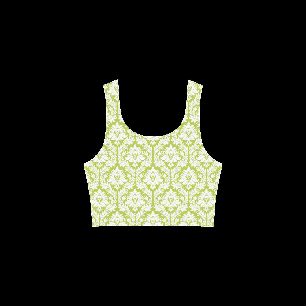 damask pattern spring green and white Atalanta Sundress (Model D04)