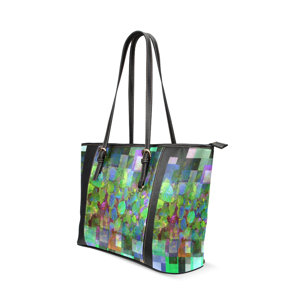 Foliage Patchwork #10 - Jera Nour Leather Tote Bag/Large (Model 1640)