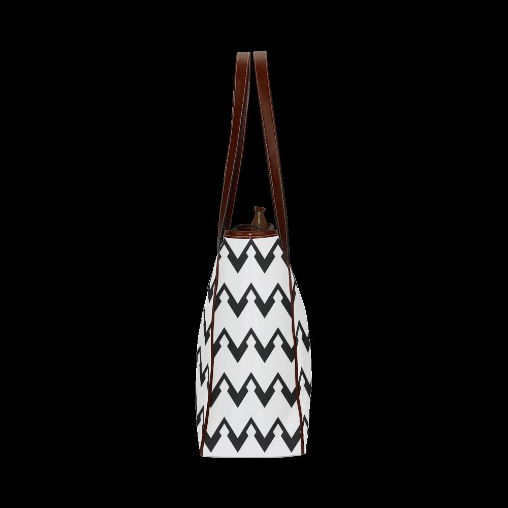 Chevron black and white  1 Classic Tote Bag (Model 1644)