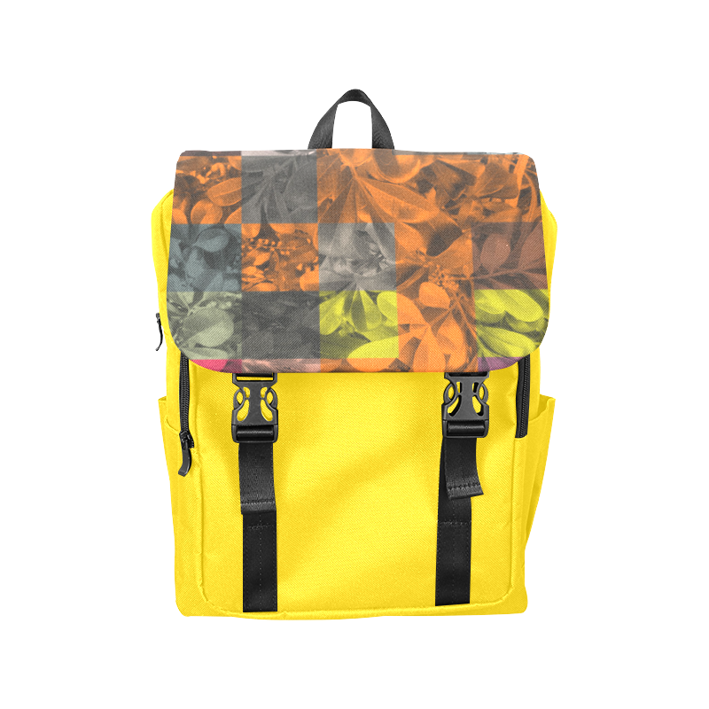 Foliage Patchwork #9 Yellow - Jera Nour Casual Shoulders Backpack (Model 1623)