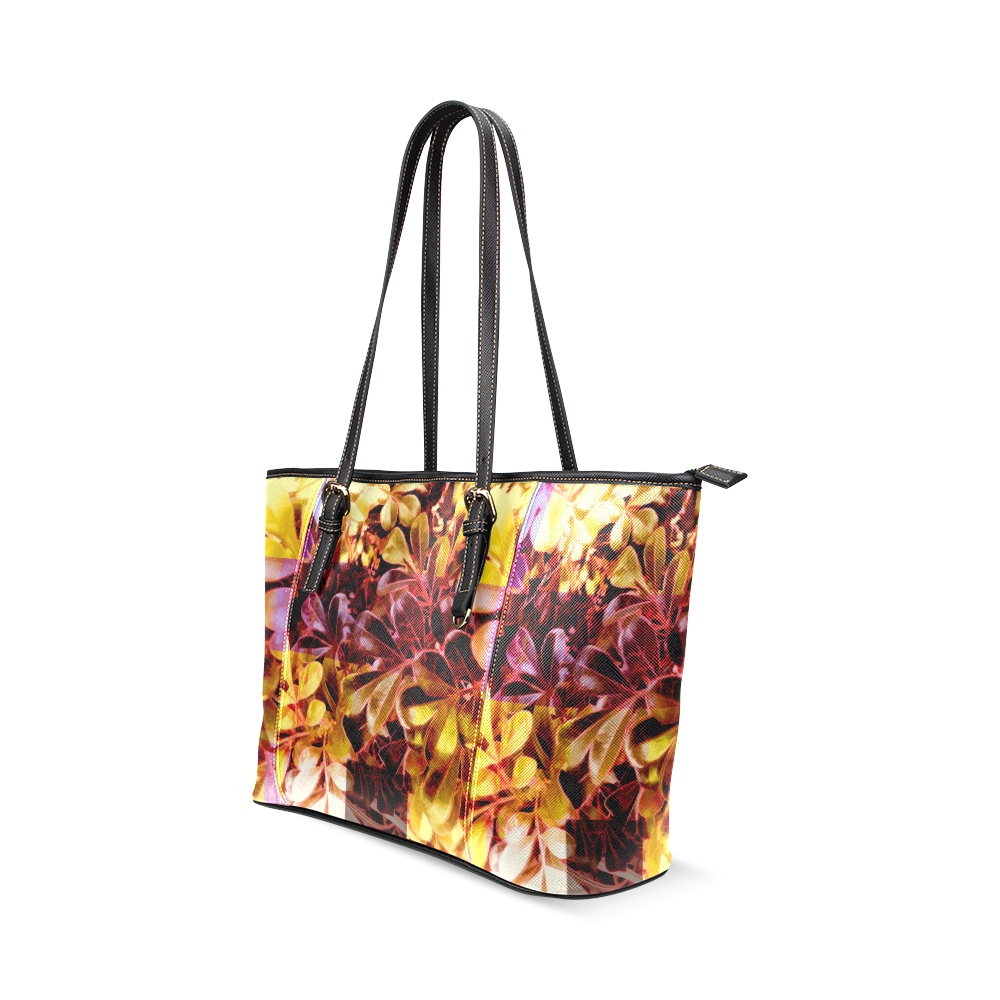 Foliage Patchwork #11 - Jera Nour Leather Tote Bag/Large (Model 1640)