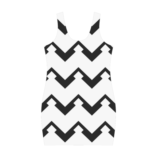 Chevron black and white  1 Medea Vest Dress (Model D06)