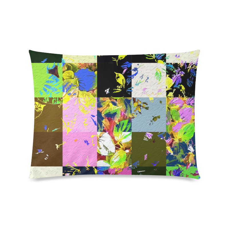 "Foliage Patchwork #3 - Jera Nour Custom Zippered Pillow Case 20""x26""(Twin Sides)"
