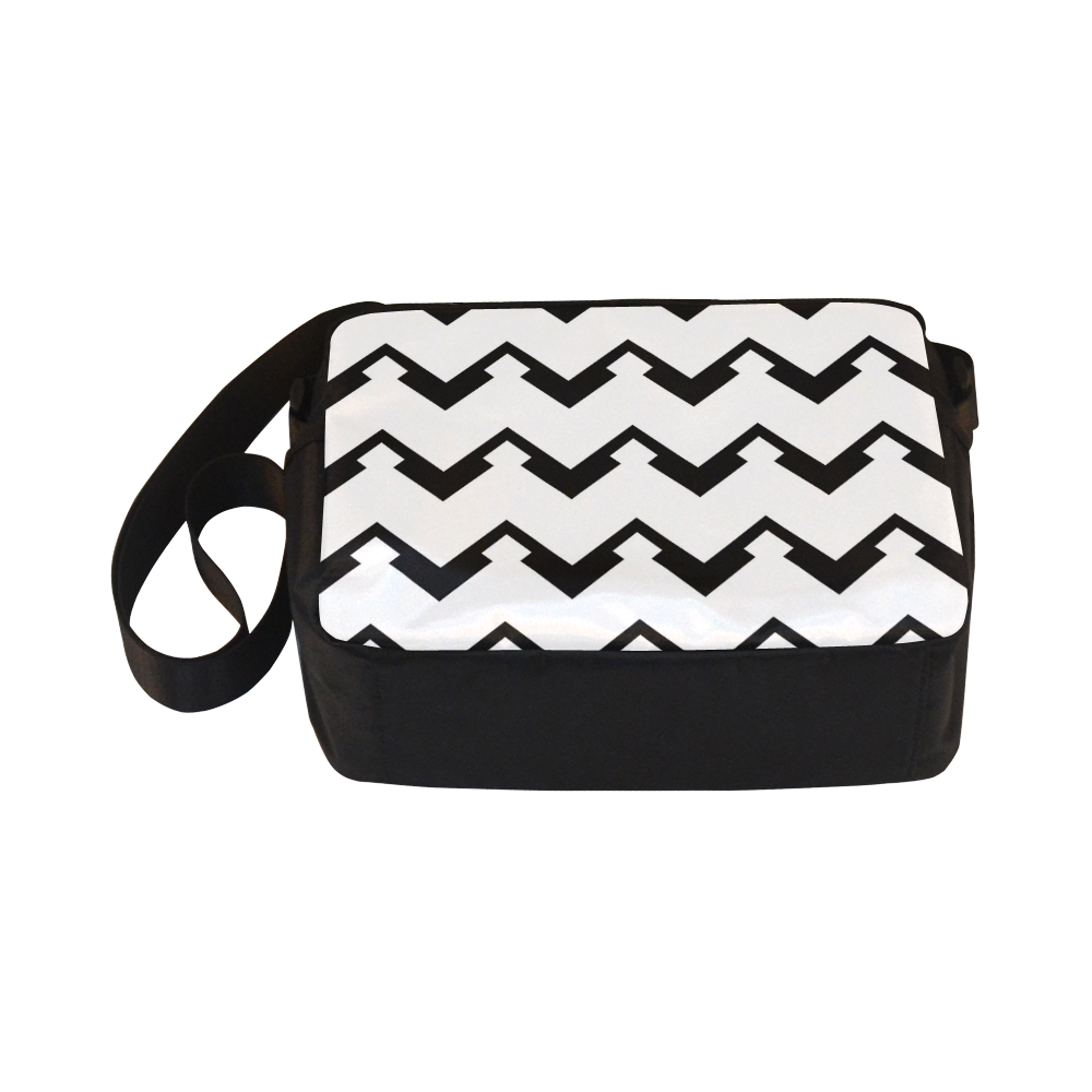 Chevron black and white  1 Classic Cross-body Nylon Bags (Model 1632)