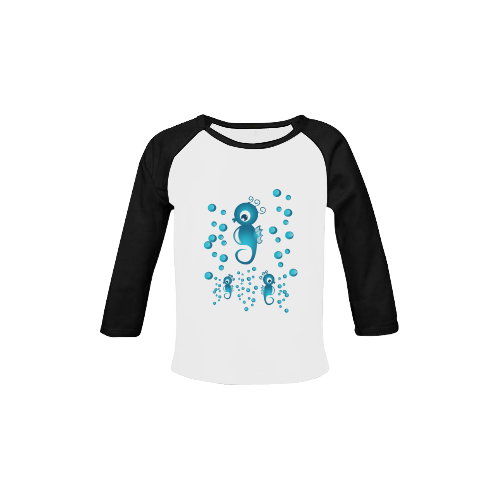 Sea horses in blue Baby Organic Long Sleeve Shirt (Model T31)