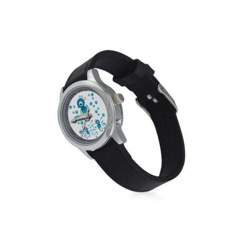 Sea horses in blue Kid's Stainless Steel Leather Strap Watch(Model 208)