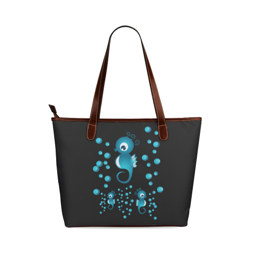 Sea horses in blue Shoulder Tote Bag (Model 1646)