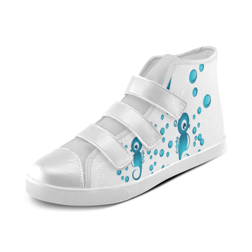 Sea horses in blue Velcro High Top Canvas Kid's Shoes (Model 015)