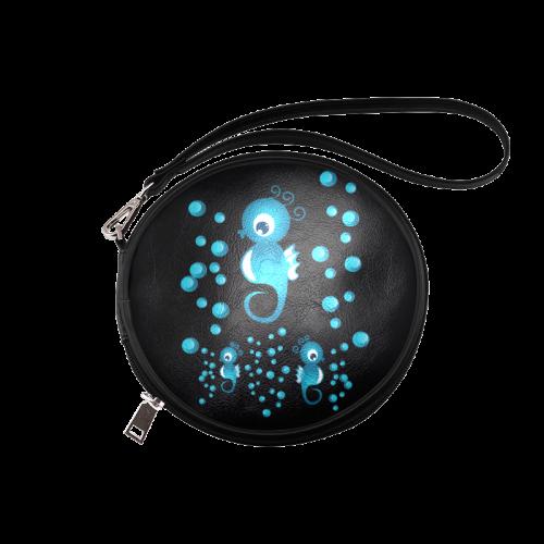 Sea horses in blue Round Makeup Bag (Model 1625)