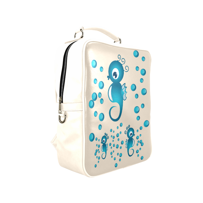 Sea horses in blue Square Backpack (Model 1618)
