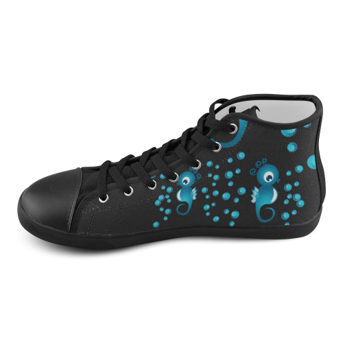 Sea horses in blue High Top Canvas Kid's Shoes (Model 002)