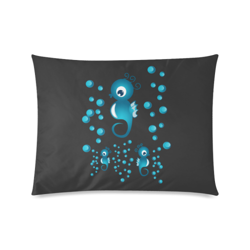 """Sea horses in blue Custom Zippered Pillow Case 20""""x26""""(Twin Sides)"""