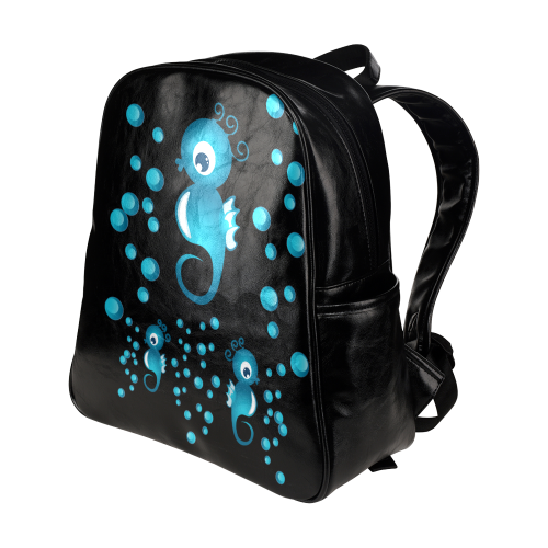 Sea horses in blue Multi-Pockets Backpack (Model 1636)
