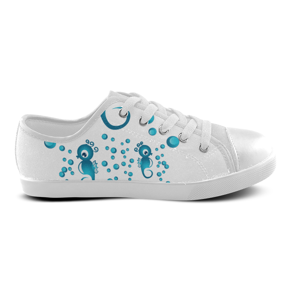 Sea horses in blue Canvas Kid's Shoes (Model 016)