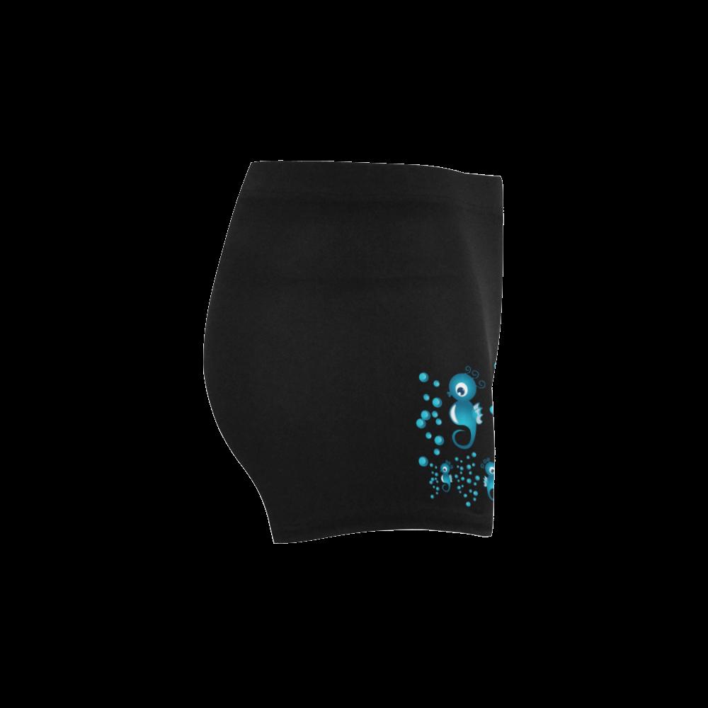 Sea horses in blue Briseis Skinny Shorts (Model L04)