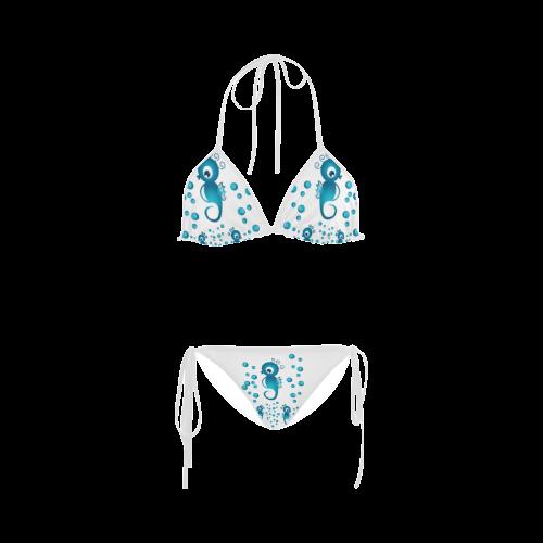 Sea horses in blue Custom Bikini Swimsuit