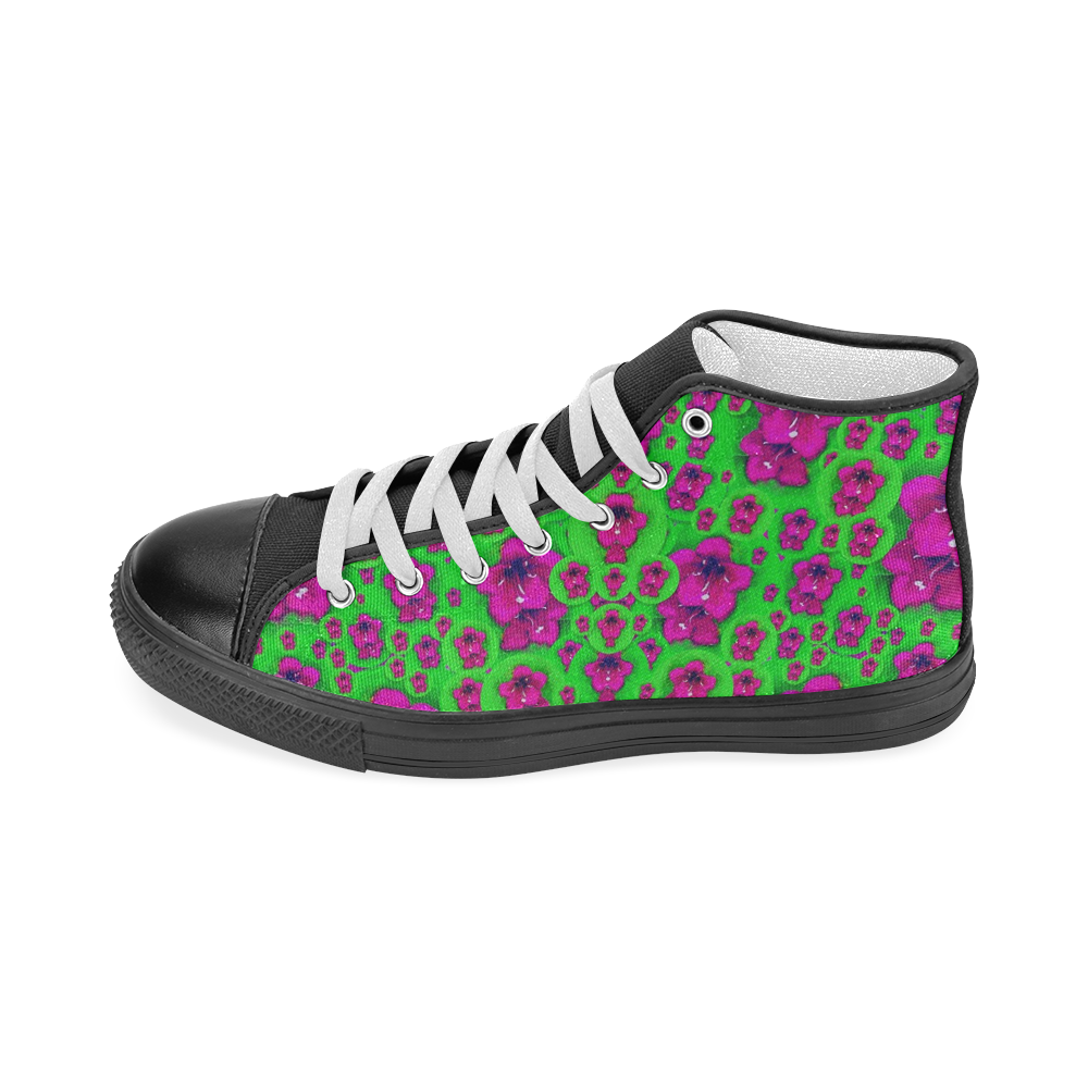 Fantasy Valentine in floral love and peace time Women's Classic High Top Canvas Shoes (Model 017)