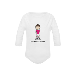 Future Soccer girl - sport player ball Baby Powder Organic Long Sleeve One Piece (Model T27)